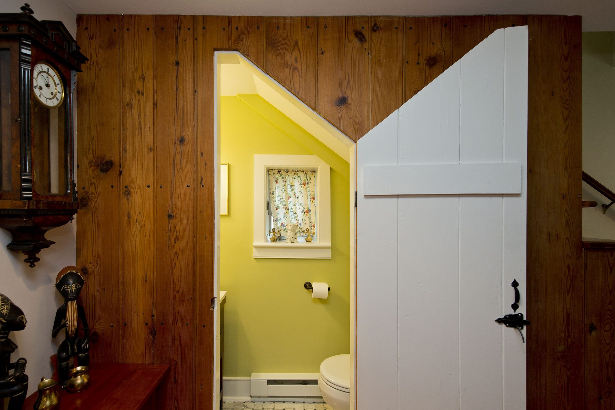 Award Winning Historic Renovation under stairs bathroom