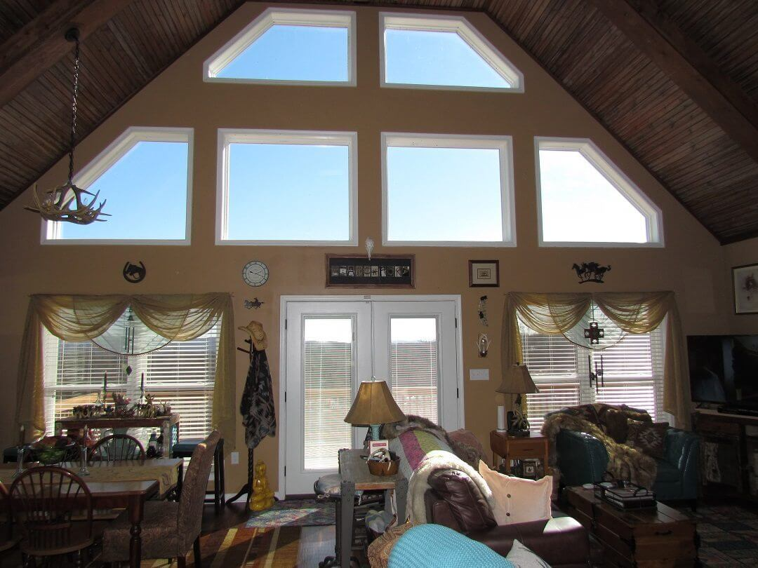 Cedar Siding Custom Home open living room dining room