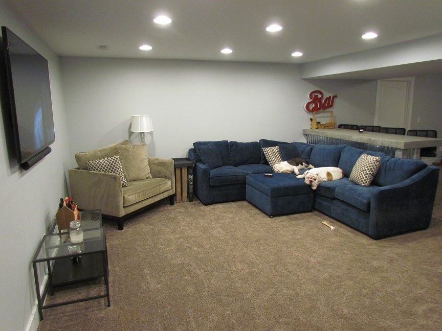 Masculine Transitional Finished Basement sitting area