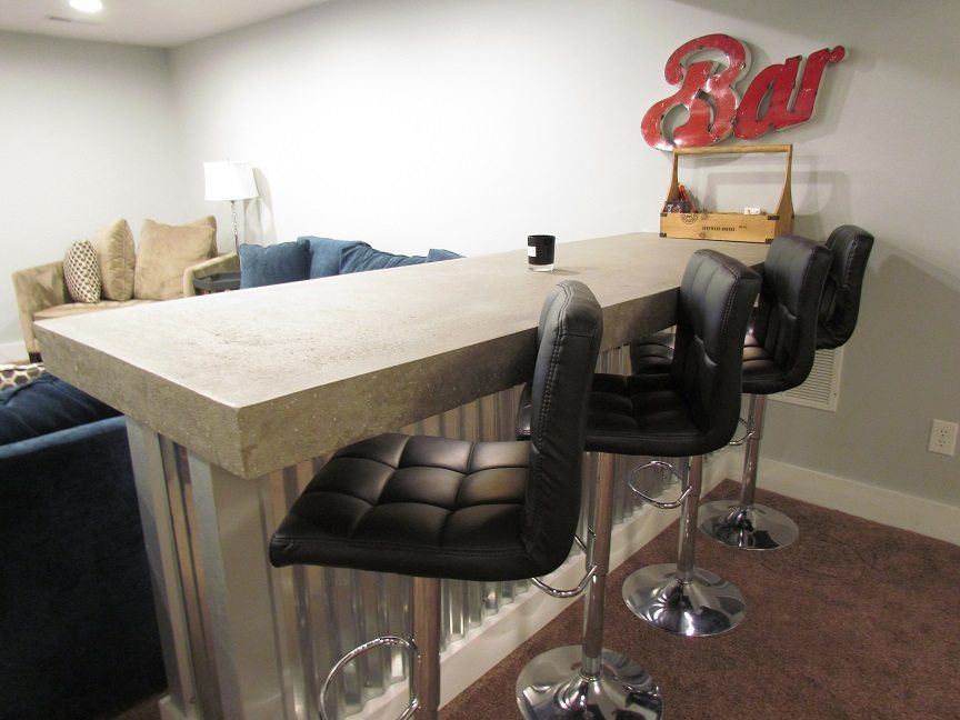 Masculine Transitional Finished Basement barstools