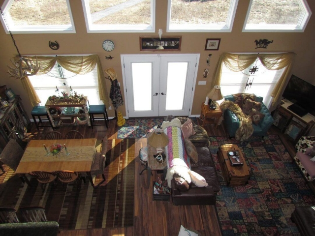 Cedar Siding Custom Home living room dining room birds eye view