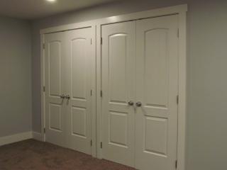 Masculine Transitional Finished Basement closets