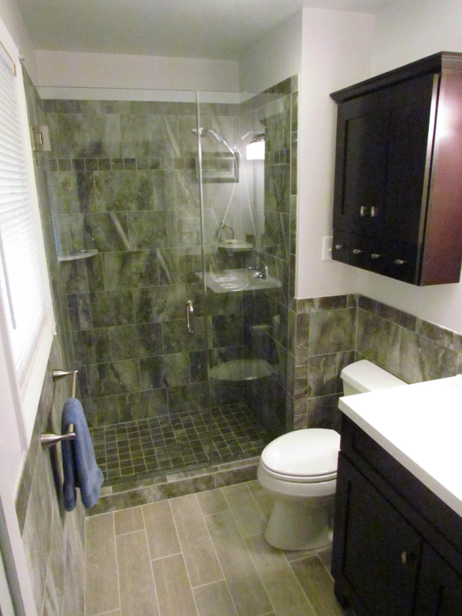 Bathroom Renovation shower and cabinet