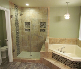 Master Bathroom Renovation shower and bathtub