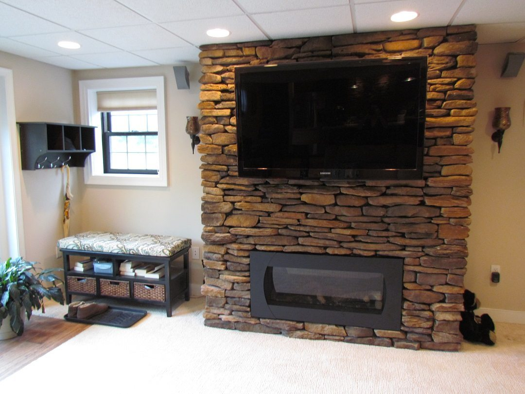 Award Winning Finished Basement fireplace