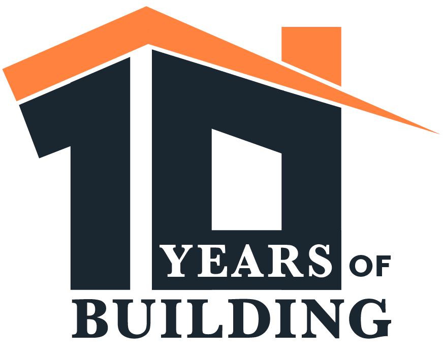 10 years of building logo