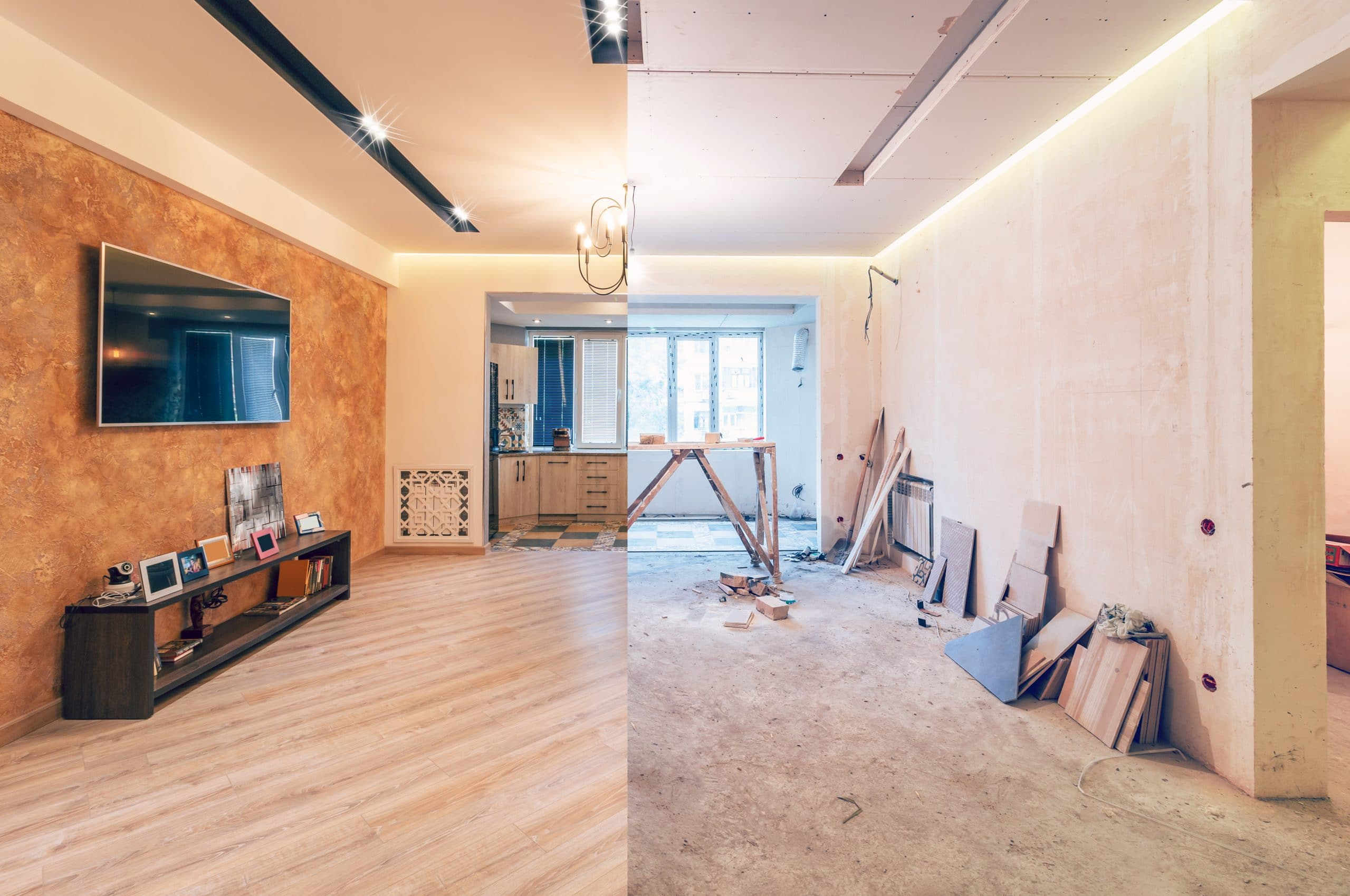 Modern interior design of big living-kitchen studio room, before and after